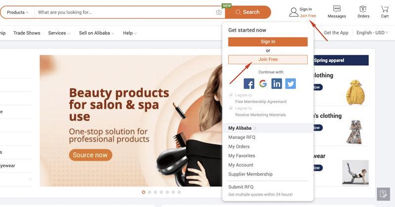 Chọn Join Free để đăng ký tài khoản bán hàng trên Alibaba
